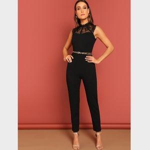 Black Lace Detail Tapered Leg Jumpsuit